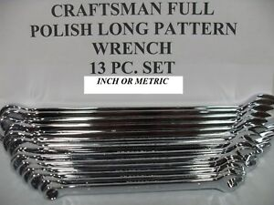 Craftsman 13 Pc Long Full Polish Combination Wrench Set Sae 1 4 1 Or Mm 7 19mm