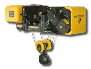 R m 10 Ton Low Headroom Wire Rope Hoist 460 3 60 29 6 Lift Class H4 New