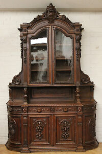 Antique French Renaissance Hunt Carved Cabinet Buffet W Curved Sides