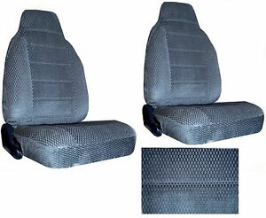 Scottsdale Fabric Charcoal Blue 2 High Back Bucket Car Seat Covers Sc 906 frd