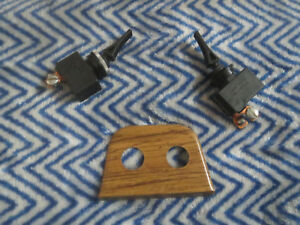 Nos Vintage Universal Panel Monted Toggle Switch Set Woodgrain 60 s 70 s Style