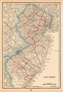 1893 Antique New Jersey State Map Vintage Map Of New Jersey Gallery Wall 6154