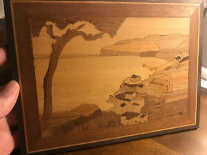 Wood Inlay Woodcut Sorrento Italy Marquetry Landscape Scenery
