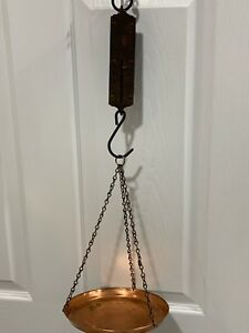 Antique Chatillons Brass Spring Balance Hanging Scale And Copper Hanging Dish