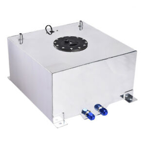 New 10 Gallon Polished Aluminum Race Drift Fuel Cell Tank And Level Sender