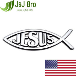 J j Bro Metal Chrome Christian Jesus Fish Ichthys Car Sticker Emblem 3 Colors