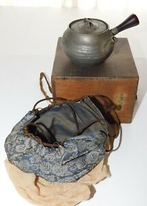 Antique Asian Chinese Pewter Teapot Tea Kettle With Box