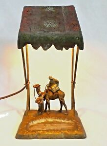Antique Austrian Cold Painted Bronze Spelter Sculpture Table Lamp 12 H 1900
