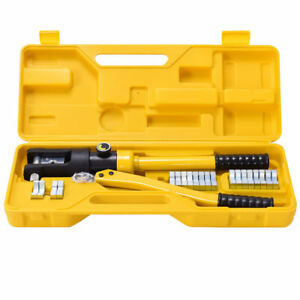 16 Ton Hydraulic Wire Terminal Crimper Tool 11 Dies Set Battery Cable Lug Case