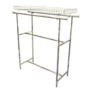 48 72 Double Parallel Bar Top Basket Rack Clothes Garment Retail Display Rack