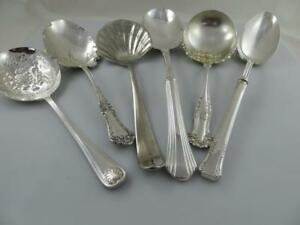 6 Piece Lot Silverplate Casserole Larger Serving Spoons Misc Patterns