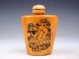 Bone Crafted Snuff Bottle Exotic Ancient Figurines Painted W Spoon 12291809