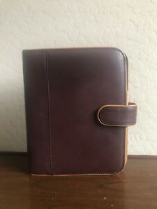 Franklin Covey bellagio Chocolate Brown And Tan Leather 7 Ring Planner Binder
