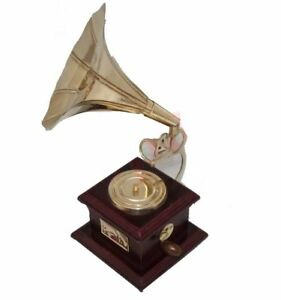 Vintage Miniature Gramophone Wooden Nautical Decor Ecs
