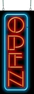 Vertical Open Neon Sign Jantec 2 Sizes Real Neon Free Shipping Marketing