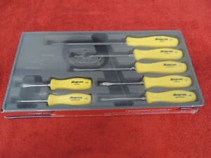 Snap On 7 Pc Screwdriver Set In A Tray Yellow Handles Sddx70ay New
