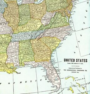 1937 Antique United States Map Rare Size Usa Map Poster Print Size 6187