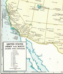 1944 Antique United States Map Army Navy Camps Stations Poster Print Size 6190