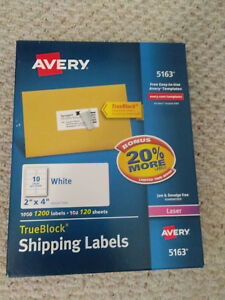 Lot Of 4 Boxes New Avery 5163 1 x2 5 8 2 625 white Shipping Labels 14400 Count