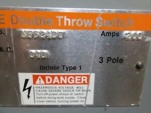 Ite 200a 240v 1 Phase 3 Pole Double Throw Safety Switch Catalog Nf324dt