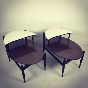 A Very Fine Pair Of Vintage Mid Century Modern Mersman Oval Step End Tables 1960