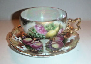 Vintage Royal Sealy Bone China Pearl Luster Cup Saucer Gilded Fruit Design