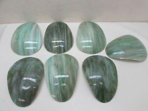 Antique Arts Crafts 7 Stunning Bent Green Slag Glass Lamp Shade Panels Teardrop