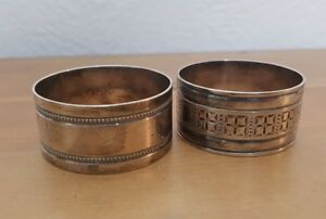 2 Vintage Silver Plated Napkin Rings Etched Designs