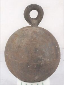 Antique Cast Iron Horse Tether Anchor Cannonball Shaped 33 Pound Weight