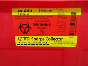 3d 306615 9 Gallon Sharps Containers W Clear Hinge Top 6 bx