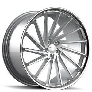 20 Staggered Giovanna Wheels Spira Ff Diamond Cut Silver With Chrome Rims Fs
