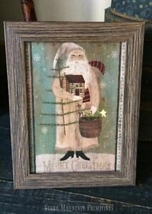 Primitive Christmas Belsnickle Santa Claus Log Cabin Feather Tree Framed Print