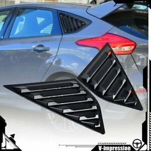 2x Matte Black Quarter Window Louvers Covers For Ford Focus St Rs Mk3 Hatchback