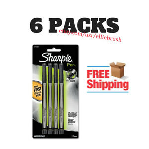 6 pack Sharpie Plastic Point Stick Water Resistant Pen Black Ink Fine 4 pack