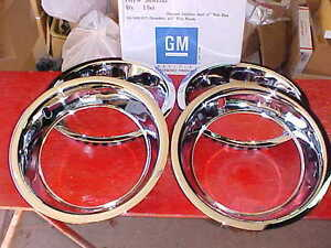 15x3 Chevy Bowtie Beauty Bands Trim Rings Chrome Stainless Corvette Rally 153