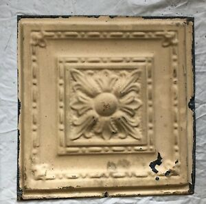 1890 S 12 X 12 Antique Tin Ceiling Tile Tan Metal Reclaimed Anniversary 32 19
