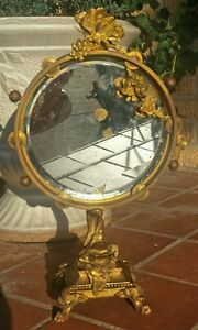 Best Victorian Brass Vanity Mirror W Butterflies And Rose Garlands
