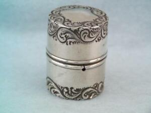 Rare Lapierre Antique Sterling Silver Repousse Sewing Thread Holder Box Ornate