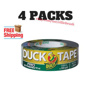 4 pack Duck Tape Brand Pro Strength Duct Tape Silver 1 88 X 55 Yards New