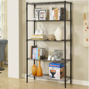 71x36x14 5 Tier Wire Rack Shelf Adjustable Unit Garage Kitchen Storage Black