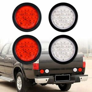 4x Red White 4 Round 24 Led Stop Turn Tail Lights Backup Reverse Truck Trailer