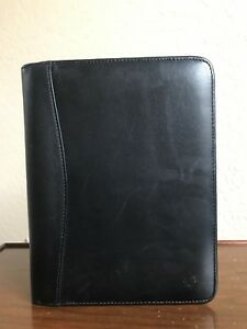Franklin Covey Classic 7 Rings Black Leather Zip Daily Personal Planner Binder