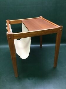 Danish Mid Century Modern Pbj Mobler Teak Table W Newspaper Magazine Holder