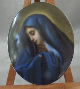 Antique Kpm Miniature Painting Plaque Madonna On Porcelain Hand Painted 19th Cen