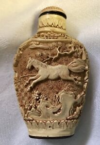 Chinese Snuff Bottle Carved Horses Signed Brass Base