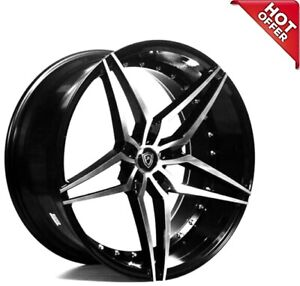 4rims 22 Staggered Marquee Wheels 3259 Black Machined Rims Fs