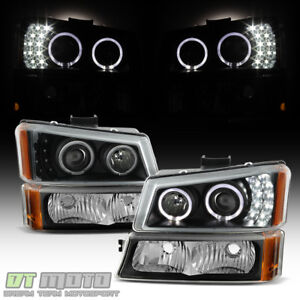 Black 2003 2006 Chevy Silverado 1500 Led Halo Projector Headlights bumper Lights