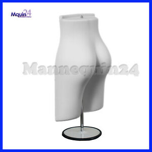 White Mannequin Female Butt Form With 1 Stand 1 Hanger Plastic Dress Form