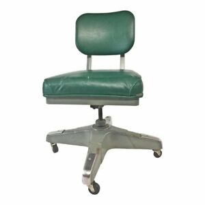 Vintage Industrial Chair Desk Office Swivel Tanker Mid Century Modern Green 60s