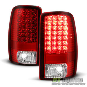 2000 2006 Chevy Suburban 1500 2500 Tahoe Red Clear Led Tail Lights Brake Lamps
